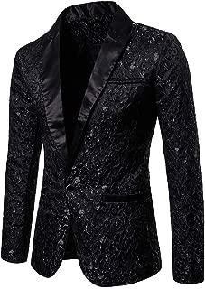 Mens Jacquard Blazer,Casual Paisley Dress Suit Teens Boys Slim Fit Sport Coat Party Suit Jacket Top Zulmaliu