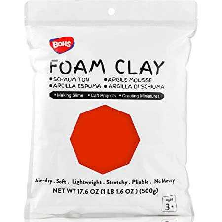 BOHS Red Lightweight Foam Modeling and Slime Clay Air Dry for Preschool Arts /& Crafts,1.1lb//500Grams