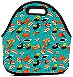 Mariscos Sushi Langostino Wasabi Bolsa de almuerzo japonesa Tote portátil Bolsa de bento Bolsa de lonchera Paquete de cremallera multifuncional para oficina de trabajo escolar