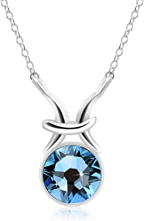 Birthstone Crystal Pendant Necklace, Lucky Birthstone of 12 Constellations with Swarovski Crystal, Lucky Color Necklace in Birthday, Jewelry Gifts for Birthday, Birthstone Necklace