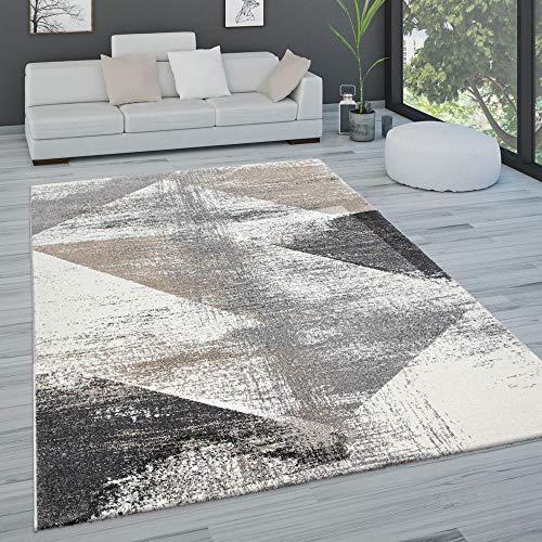 Paco Home Teppich Wohnzimmer Kurzflor Pastell Vintage Look Abstraktes Muster Versch. Styles, Grösse:120x170 cm, Farbe:Grau