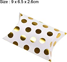 10Pcs Pillow Shape Kraft Jewelry Candy Box Craft Paper Wedding Favor Gift Boxes Pie Party Box Bags Gold Dot