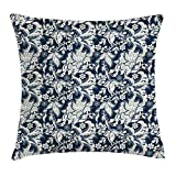 JIMSTRES Asian Throw Pillow Cushion Cover, Floral Illustration Oriental Eastern Style with Traditional Influences, Decorative Square Accent Pillow Case, Dark Blue Grey and Beige 22x22 inches