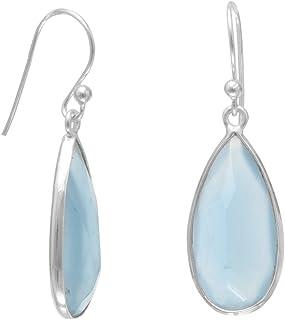 Solid 925 Sterling Silver Peru Chalcedony Earrings Drop Dangle Silver Earring Jewelry 10x14mm Oval Peru Chalcedony Gemstone Earrings