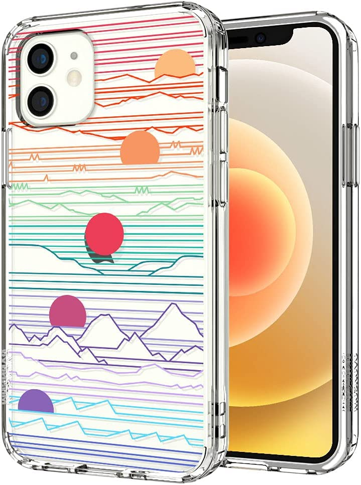 MOSNOVO Case for iPhone 12 Mini, Sunrise Sunset Slim Clear Case Design with Shockproof TPU Bumper Protective Cover Case for Women Girls Men