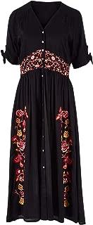 Boho Bird Womens Calf Length Dresses Wildflower Embroidered Dress Black