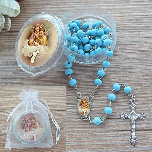 Rosario perfumado bautismo – 12 rosarios perfumados de ángel de la guarda con caja de regalo individual y bolsa