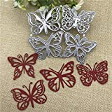 YunTrip - Fustelle da taglio per biglietti, 2 pezzi, motivo: farfalla, in metallo, per fai da te, scrapbooking, album fotografici, carta decorativa