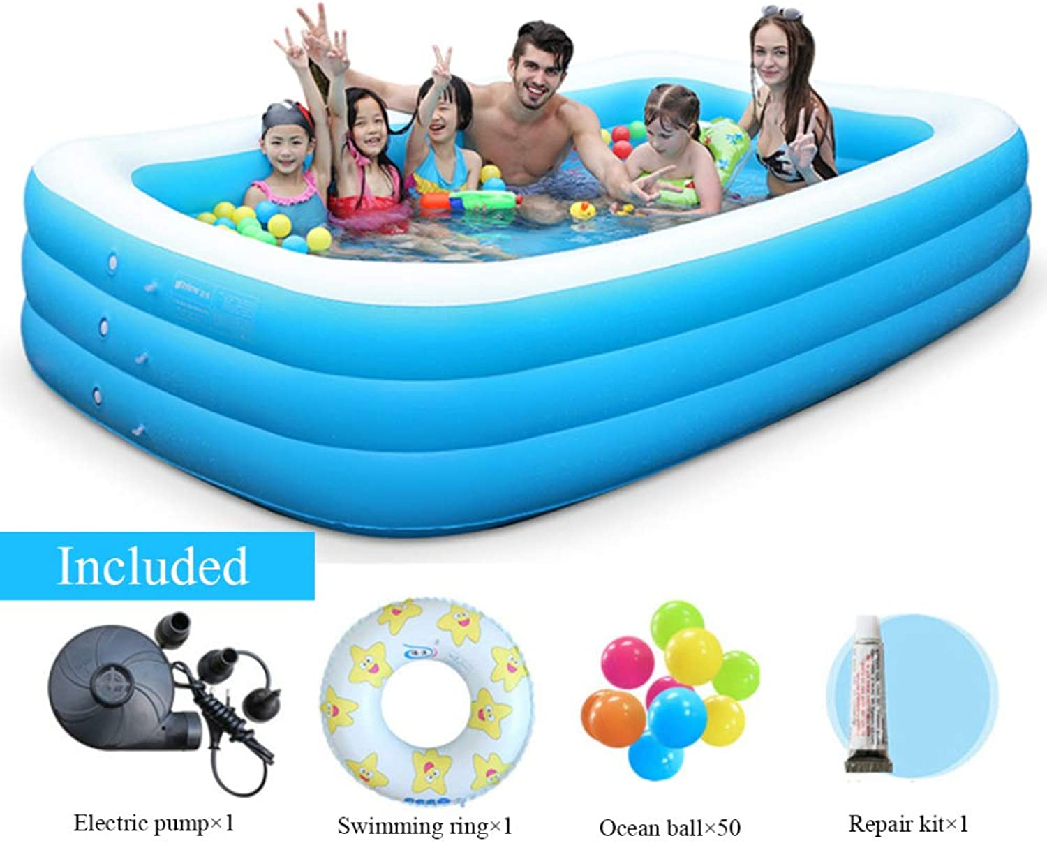 bajo precio del 40% YIRUN Piscina Familiar Rectangular Adult Inflatable Pool For Summer Summer Summer Party Ideal para Niños Adulto Plegable Inflable Gruesas,305×183×72cm 10×6×2.36ft  preferente