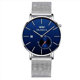 ساعة يد عصرية من اولميكا بتصميم بسيط رفيع جًدًا مضادة للماء للرجال، بحركة كوارتز وكرونوغراف، لون ذهبي وردي 895