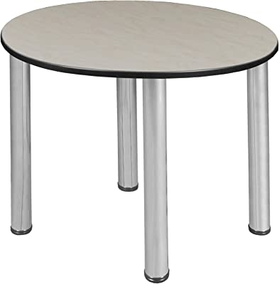 """Regency Kee Round Dining & Activity Table with with Slim Lightweight Tabletop, 30"""", Maple/Chrome"""