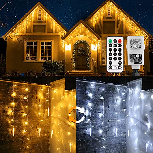 Eisregen Lichterkette Außen,ECOWHO 360 LEDs Erweiterbar Eiszapfen Lichtervorhang,11 Modi und Timer,Warmweiß Kaltweiß Lichterkette Außen Wasserdicht Weihnachtsbeleuchtung für Weihnachten(8.85x0.9m)
