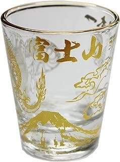 Collectible Shot Glass Gold Mt.Fuji and Dragon Design