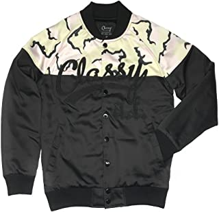 Classy Brand Classy AF Satin Baseball Bomber Jacket Black and Camo