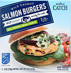 Whole Catch Wild Caught Salmon Burgers with Bell Pepper, Onion, & Garlic (2 - 4oz Patties) (Frozen),