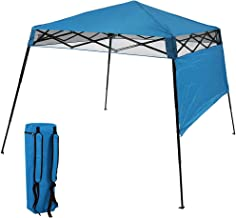 Sunnydaze Compact Quick-Up Slant Leg Instant Pop-Up Backpack Canopy, 6 x 6 Foot Top, 7.5 x 7.5 Foot Bottom, Blue