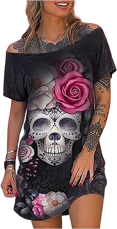 VEZAD Women's Casual Skull Halloween Print Sleeveless Dresses Summer Short Dark Style Dress Plus Size Skirt