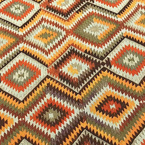 Kt KILOtela Tessuto di tela stampata – Scampolo di 300 cm di lunghezza x 280 cm di larghezza, geometrico etnico, Kilim, arancione