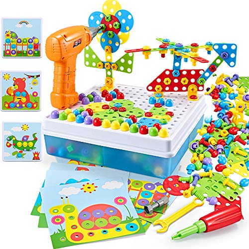 ZMZS Electric Drill Screw Set Kids Jigsaw Puzzle Peg Board Mosaic Pegboard Take Apart Building Assembly DIY Button Art 223 PCS STEM Educational Kits for 3 4 5 6 7 Year olds Boy Toddler Gifts