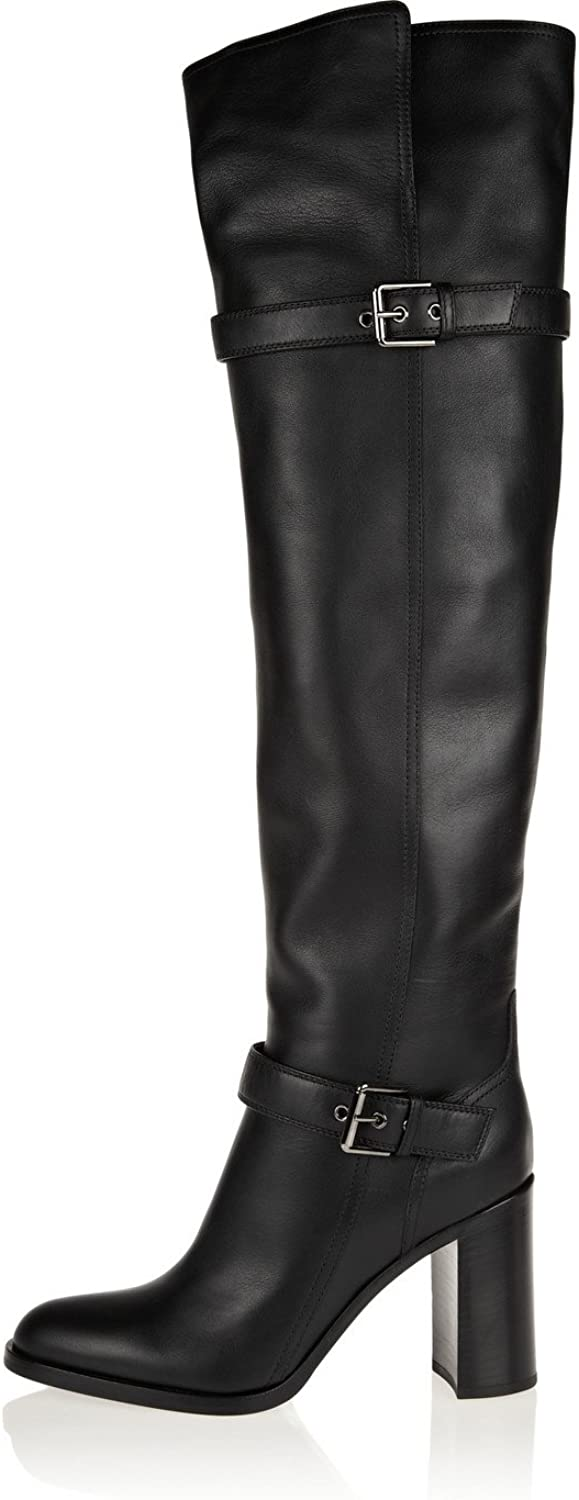 AIWEIYi Womens Cow Leather Boots shoes Fur Warm Knee High Boots Ladies Thigh High Boots Black