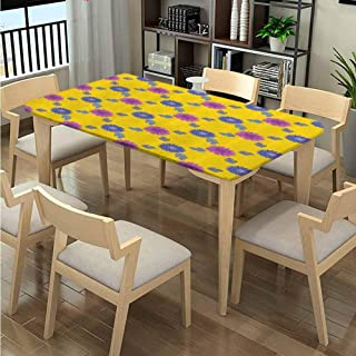 LQQBSTORAGE Elastic Edge Rectangle Tablecloths, Mosaic Flower Pattern Pattern Printing, Elastic on The Corner Spillproof Fabric Tablecloth Fits Rectangular Tables:48