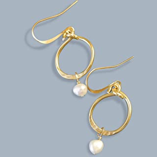 Handmade Lightweight Small Gold Tone White Pearl Womens Drop Earrings Beads by Bettina