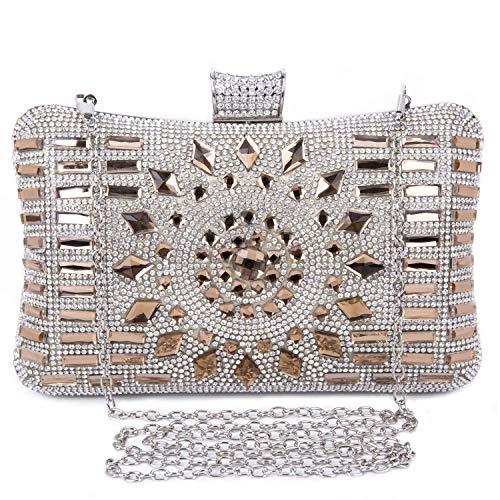 BAIGIO Bolso Fiesta Mujer Diamante, Clutch Marrón Bolso de Embrague Cartera de Mano Bolso de Noche Boda Ceremonia Novia con Anillo