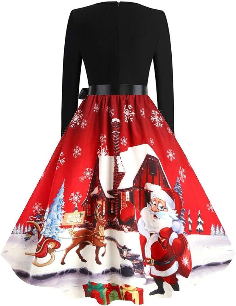 Schöne Halloween Kleid Große Größe Damen Drucken 1950er Retro Schwingen Kleid,Oversize Vintage Cocktailkleid Rockabilly,Faltenrock Abendkleider Knielang URIBAKY Grün