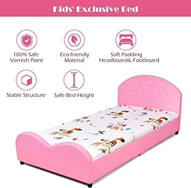 HONEY JOY Kids Twin Bed Frame with Headboard, Toddler Upholstered Platform Bed with Slatted Bed Base, No Box Spring Needed, P