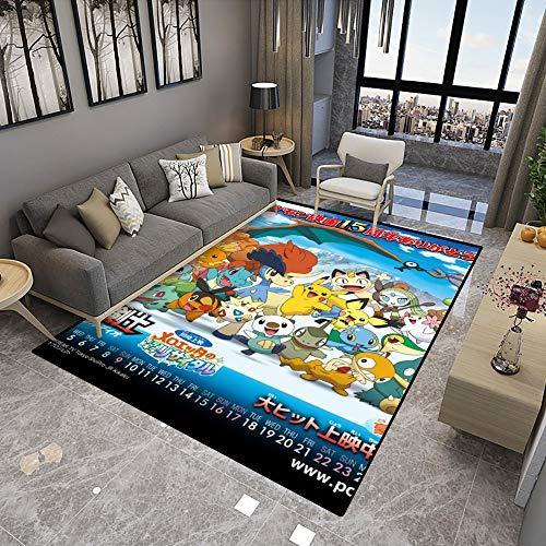 Poke-mon Large Area Rugs,Movie Kyurem Vs Sacred Swordsman Keldeo,Cute Anime Cartoon Graphic Carpet Living Room Bedroom Sofa Mat,Nonslip Doormat Kitchen Bathroom Bath Mats for Home Decoration,5x8ft