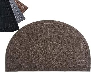 YK Decor Front Door Mat Half Round Inside Doormat Outdoor Entry Mat Non Slip Mud Dirt Trapper Mat Indoor Entrance Mat Rug Washable (Dark Coffee)