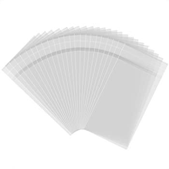 100x A5 CLEAR CELLO CELLOPHANE CARD PHOTO BAGS WITH SELF SEAL STRIP 167x 230 mm