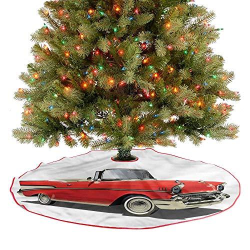 ThinkingPower Falda para árbol de Navidad con techo abierto para coche, decoración de fiesta de Navidad, decoración para árbol de Navidad, fiesta, diámetro de 48 pulgadas