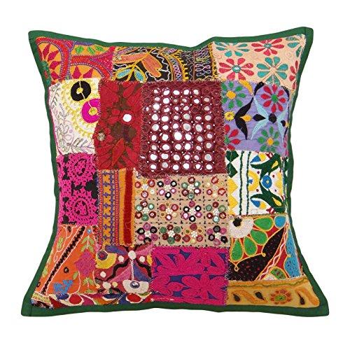Indianbeautifulart Patchwork cojín Indio Funda de Almohada Multicolor sofá Kutch Fundas de Cojines 17 x 17