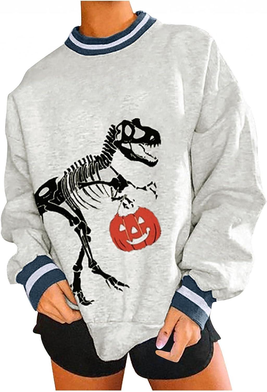 Jaqqra Halloween Sweatshirts for Women Oversize Skeleton Pumpkin Halloween Long Sleeve Pullover Tops Sweater Shirts