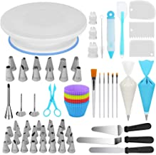Kootek 178 Pcs Cake Decorating Kit Supplies with Cake Turntable Numbered Piping Tips E-book Guide Pastry Bags Frosting Spa...