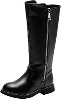 PPXID Girls Fashion Leather Overknee High Boots Warm Snow Boots Waterproof Riding Boots