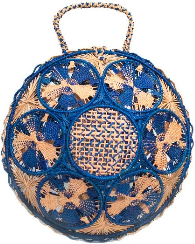 Iraca Palm Bag Panera Basket Palma de Iraca Handmade bluee and Pink