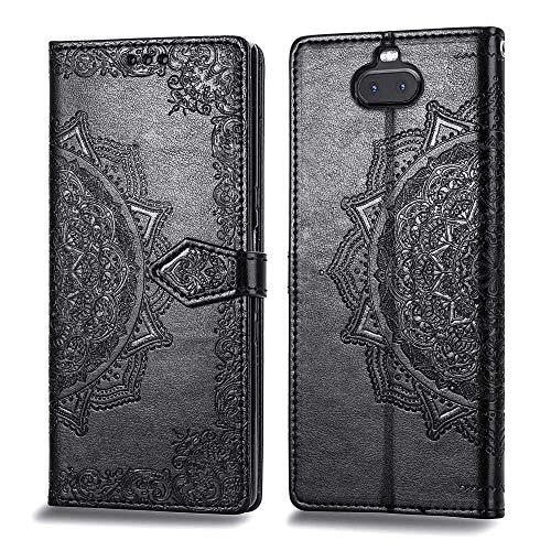 Bear Village Hülle für Sony Xperia 10 Plus, PU Lederhülle Handyhülle für Sony Xperia 10 Plus, Brieftasche Kratzfestes Magnet Handytasche mit Kartenfach, Schwarz