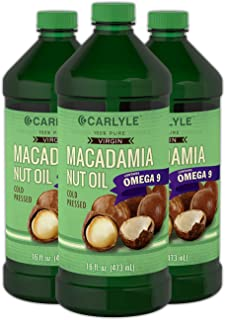 Macadamia Nut Oil | 3 x 16 oz Bottles | Premium Cold Pressed | 100% Pure Virgin | Food Grade | Vegetarian, Non-GMO, Gluten Free | Safe for Cooking, Great for Hair and Skin | by Carlyle