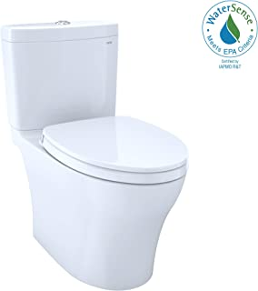 TOTO MS446124CEMG#01 Aquia IV WASHLET Elongated Dual Flush 1.28 and 0.8 GPF CeFiONtect, White-MS446124CEMG Two-Piece Toilet, 27.6 x 15.6 x 29.6 inches, Cotton White