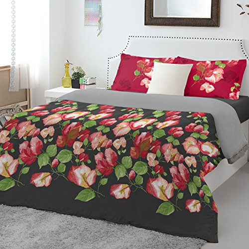 Spaces Atrium Plus 200 TC Cotton Double Bedsheet with 2 Pillow Covers - Black