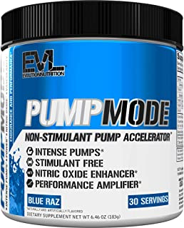 Evlution Nutrition Pump Mode Nitric Oxide Booster to Support Intense Pumps, Performance and Vascularity, 30 Servings (Blue...