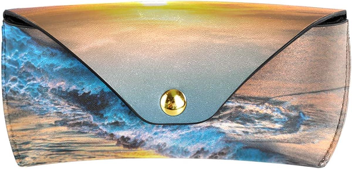 PU Leather Sunset Beach Blue Sky Landscape Multiuse Goggles Bag Sunglasses Case Eyeglasses Pouch Cute Portable