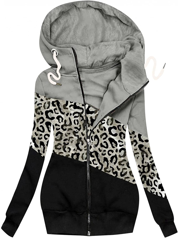Toeava Women Casual Sweatshirt Full Zip Up Jacket Stitching Leopard Print Hoodie Comfy Loose Long Sleeve with Pockets