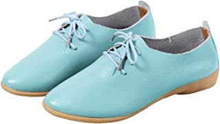WenHong Women's Shoe Classic Lace Up Dress Low Flat Heel Oxford
