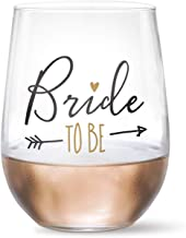 17 oz. Bride To Be Wine Glass ( Black and Metallic Gold Foil Print) - Perfect Engagement Gift for Bride