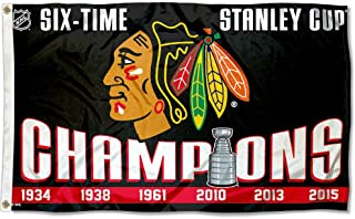 Wincraft Chicago Blackhawks 6 Time Stanley Cup Champions Flag