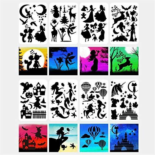 16 hojas de plantillas de arte de plantilla de dibujo rápido, plantilla de silueta de personas, hojas de plantilla de Mylar A4, personas, animales, dibujo, pintura, plantillas, álbumes de recortes