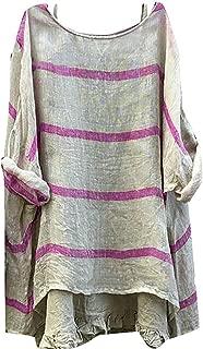 Women's Plus Size Stripe Cotton Linen Long Sleeve Loose Comfy Top Blouse T Shirts Black US-2XL